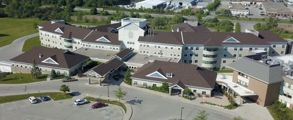 Overhead shot of the hospital.